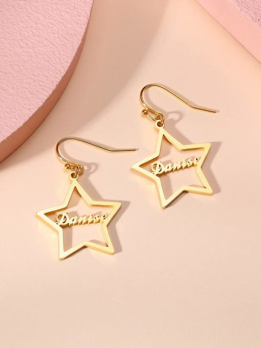 CONG Stainless steel  Hollow Star Minimalist Hook Earring 4