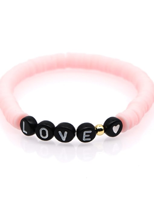 QT B200011K Stainless steel Multi Color Polymer Clay Letter Bohemia Stretch Bracelet