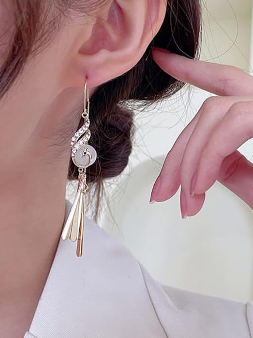 Luxu Brass Cubic Zirconia Tassel Trend Hook Earring 1