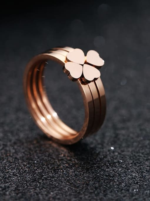 MIYA Titanium Steel Smooth  Clover Minimalist Stackable Ring