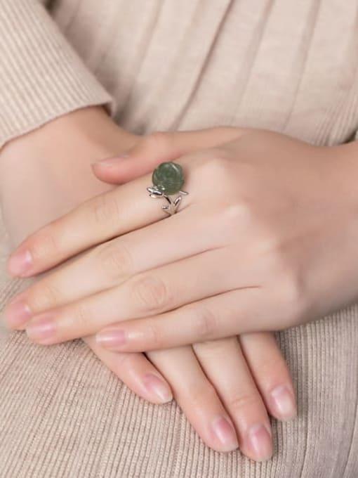 DEER 925 Sterling Silver Jade Flower Cute Band Ring 1