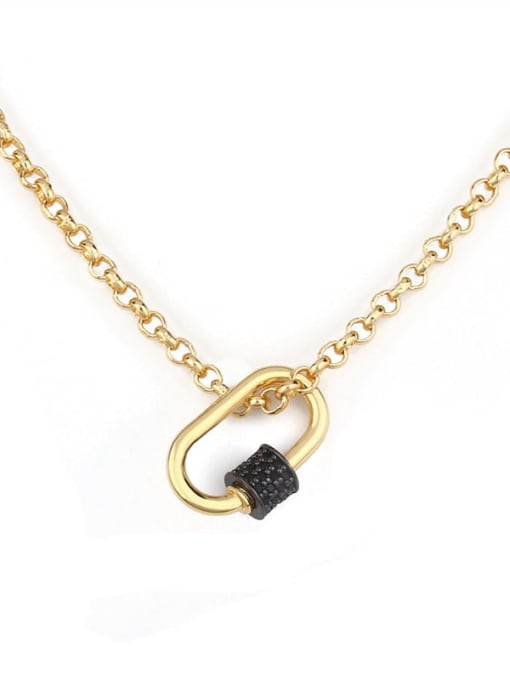 black Brass Cubic Zirconia Geometric Minimalist Necklace