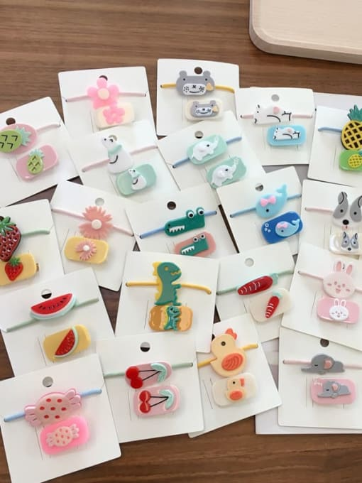 Chimera Alloy Acrylic Cute Children cartoon animal fruit Hairpin Rubber band Set 3