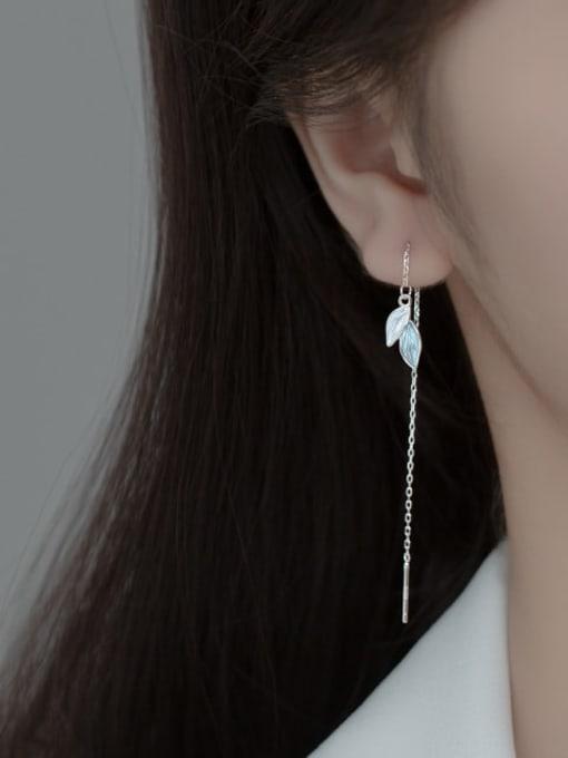 Rosh 925 Sterling Silver Cubic Zirconia Leaf Minimalist Threader Earring 0