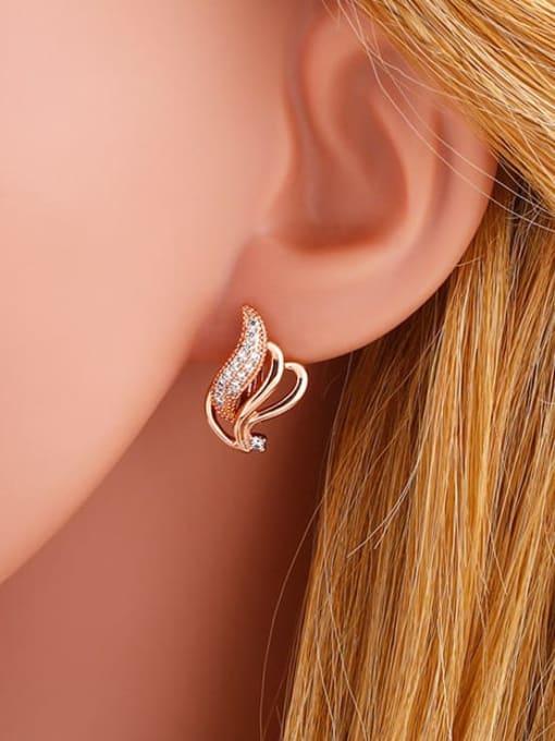 CC Brass Cubic Zirconia Irregular Bohemia Stud Earring 1