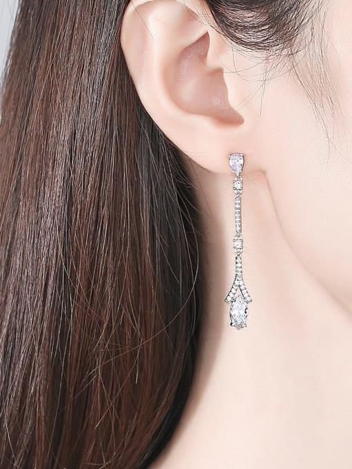 BLING SU Brass Cubic Zirconia Geometric Dainty Drop Earring 1