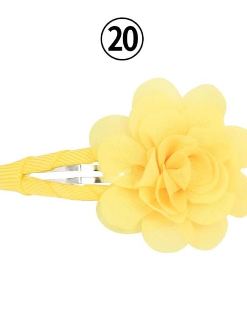 20 lemon yellow Alloy Yarn Minimalist Flower  Multi Color Hair Barrette