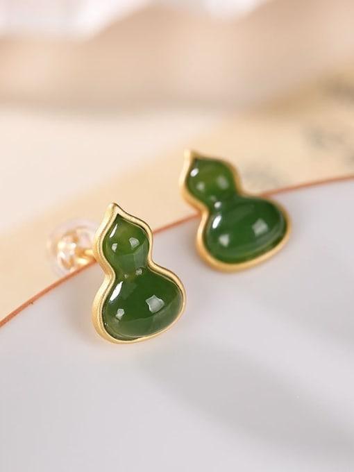 DEER 925 Sterling Silver Jade Irregular gourd Vintage Stud Earring 3