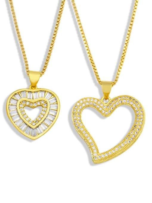 CC Brass Cubic Zirconia Heart Minimalist Necklace 2