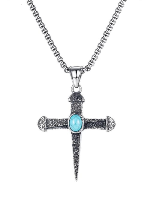 Open Sky Titanium Steel Turquoise Cross Hip Hop Necklace 0
