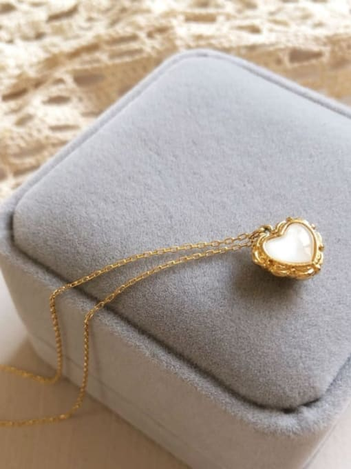 A TEEM Titanium Steel Cats Eye Heart Minimalist Necklace 3