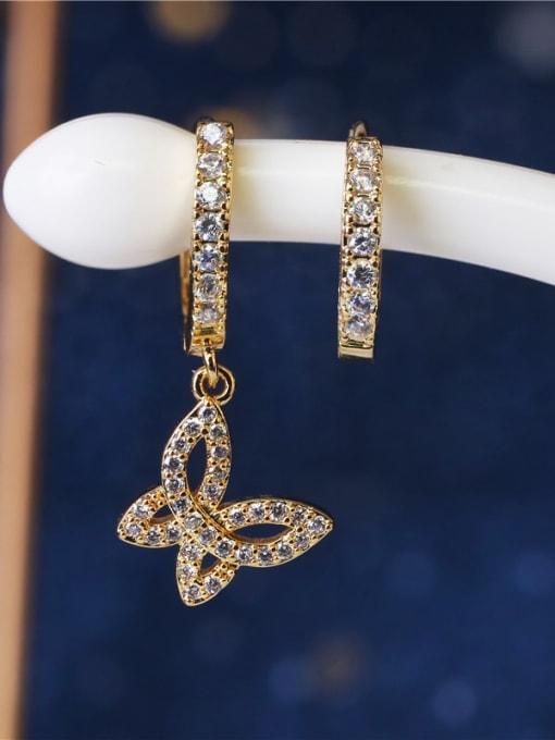 DUDU Brass Cubic Zirconia Butterfly Vintage Huggie Earring 1