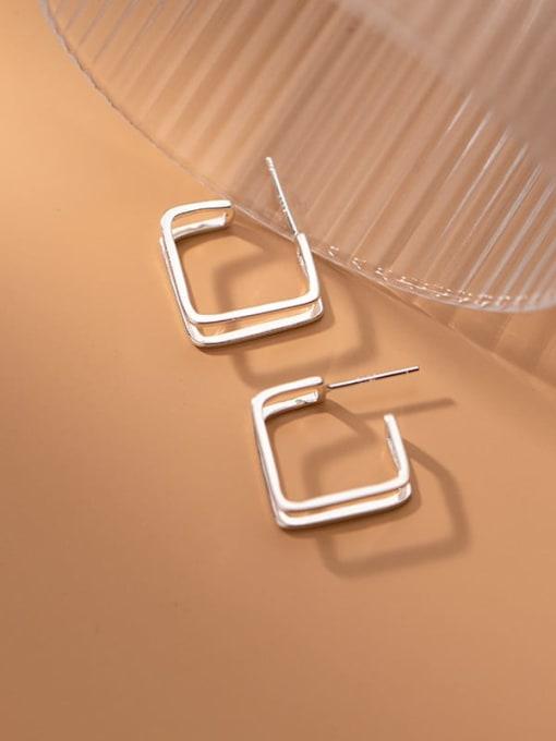 Rosh 925 Sterling Silver Hollow Geometric Minimalist Stud Earring 0