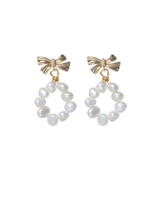 RAIN Brass Freshwater Pearl Bowknot Minimalist Drop Earring 0
