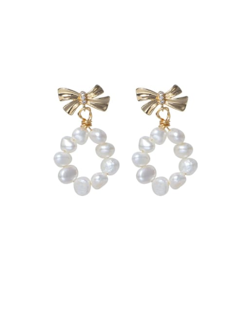 RAIN Brass Freshwater Pearl Bowknot Minimalist Drop Earring