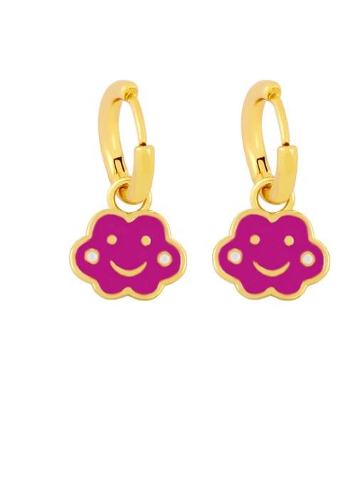 purple Brass Enamel Cloud Hip Hop Huggie Earring