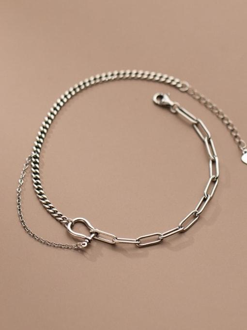 Rosh 925 Sterling Silver Asymmetry Irregular Vintage Link Bracelet 0