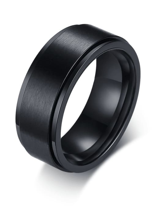 CONG Titanium Steel Round Minimalist Band Ring