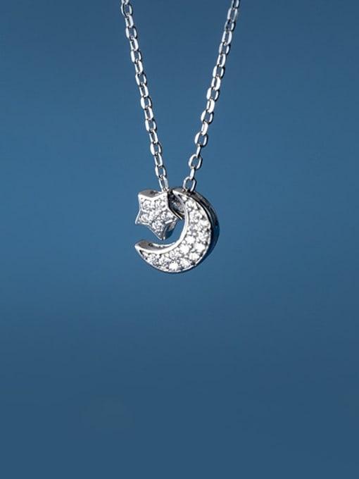 Rosh 925 Sterling Silver Cubic Zirconia Moon Minimalist Necklace