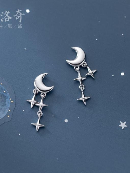 Rosh 925 Sterling Silver Moon Minimalist Cross Drop Earring 3