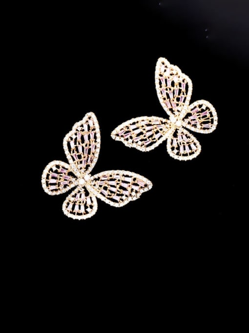 Gold Pink Diamond large Brass Cubic Zirconia Butterfly Statement Cluster Earring