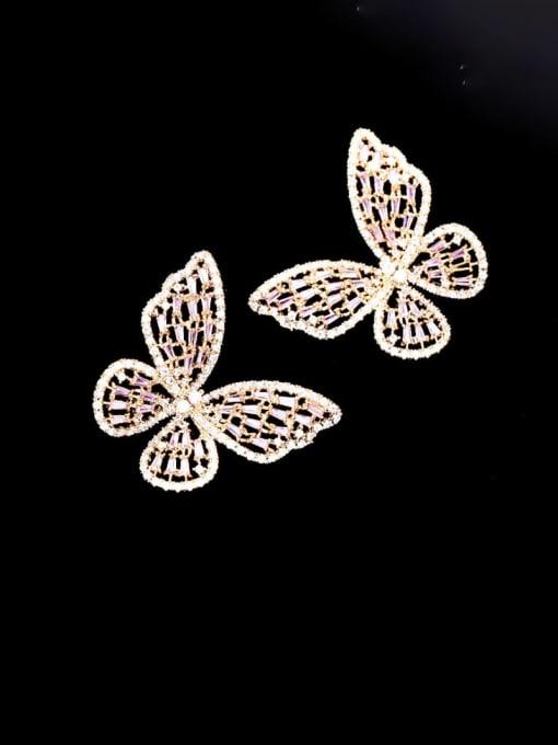 Luxu Brass Cubic Zirconia Butterfly Statement Cluster Earring 0