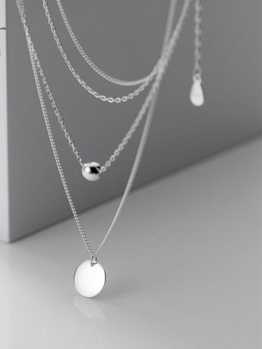Rosh 925 Sterling Silver Round Minimalist Multi Strand Necklace 2