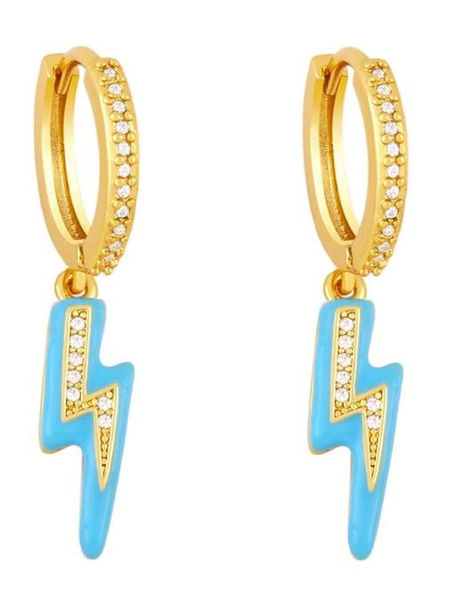 Light blue Brass Enamel Irregular Cute Huggie Earring