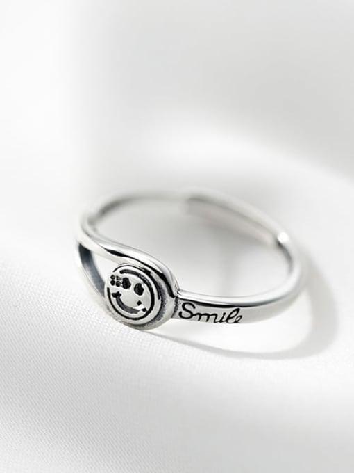 Rosh 925 Sterling Silver Smiley Vintage Band Ring 1