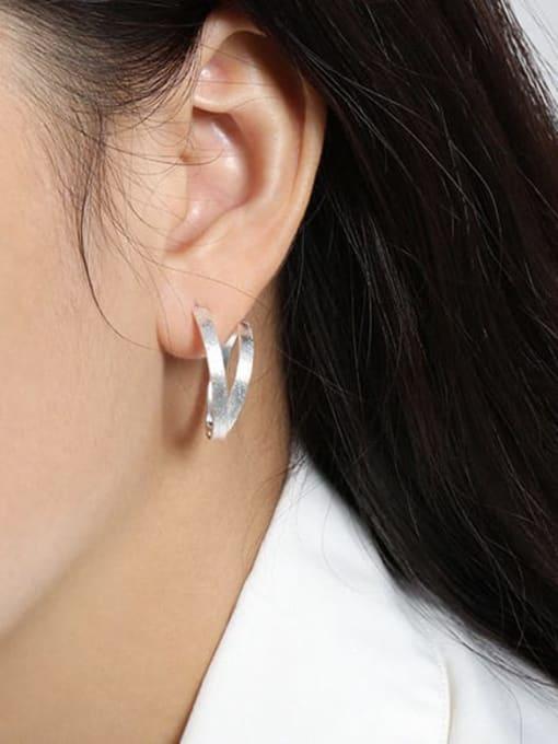 DAKA 925 Sterling Silver Geometric Vintage Hoop Earring 2