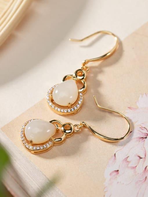 DEER 925 Sterling Silver Jade Irregular Vintage Hook Earring 2