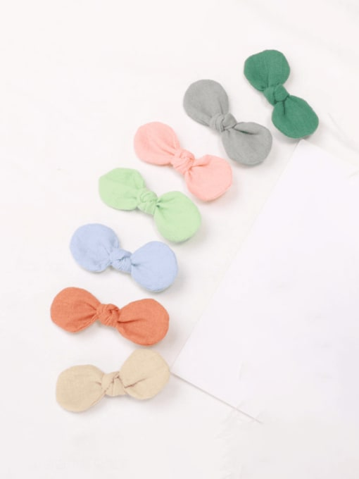 YOKI KIDS Alloy Fabric Minimalist Bowknot  Multi Color Hair Barrette 3