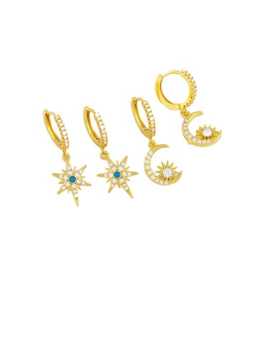 CC Brass Cubic Zirconia Star Hip Hop Huggie Earring