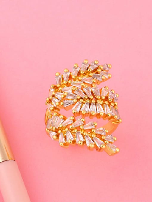 CC Brass Cubic Zirconia Leaf Dainty Band Ring