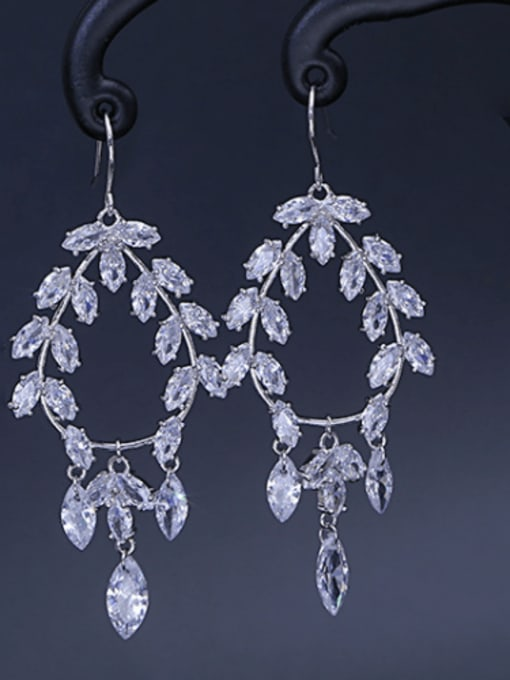 platinum Brass Cubic Zirconia Geometric Minimalist Hook Earring