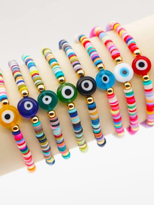 Roxi Stainless steel Multi Color Polymer Clay Evil Eye Bohemia Stretch Bracelet 0