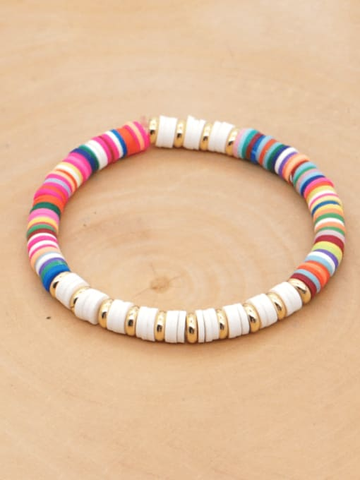 Roxi Stainless steel Multi Color Polymer Clay Geometric Bohemia Stretch Bracelet 0
