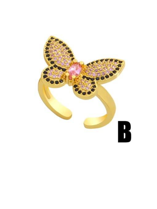 CC Brass Cubic Zirconia Butterfly Vintage Band Ring 2