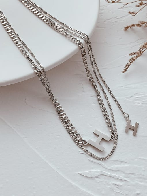 Open Sky Titanium Steel Letter Hip Hop Multi Strand Necklace 1