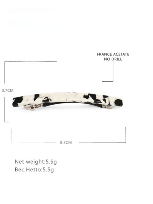 Medium slotted spring clip Cellulose Acetate Vintage Geometric Zinc Alloy Jaw Hair Claw