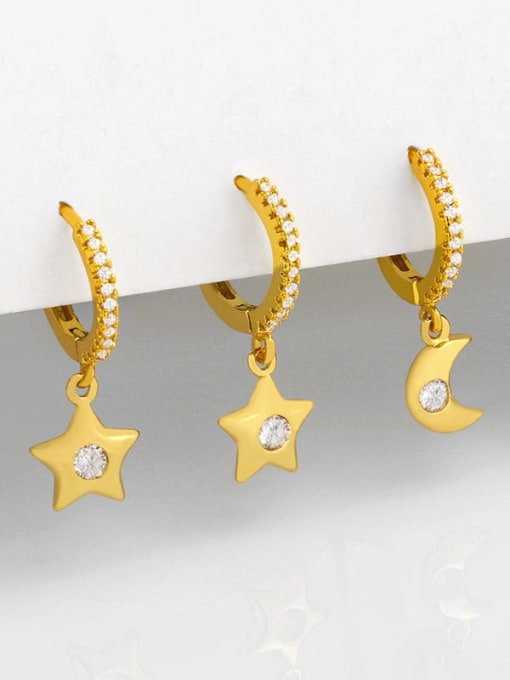 CC Brass Cubic Zirconia Star Minimalist Huggie Earring 0