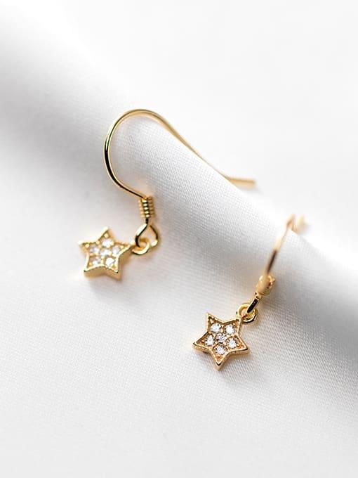Rosh 925 Sterling Silver Cubic Zirconia Star Minimalist Hook Earring 0