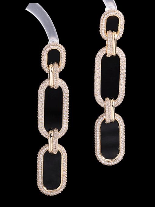 Luxu Brass Cubic Zirconia Geometric Trend Drop Earring 2