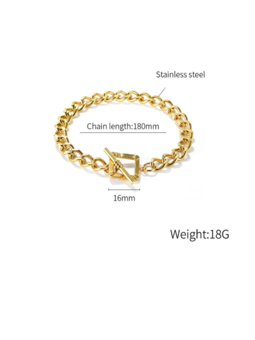 Open Sky Titanium Steel Hollow Geometric Chain Vintage Link Bracelet 4