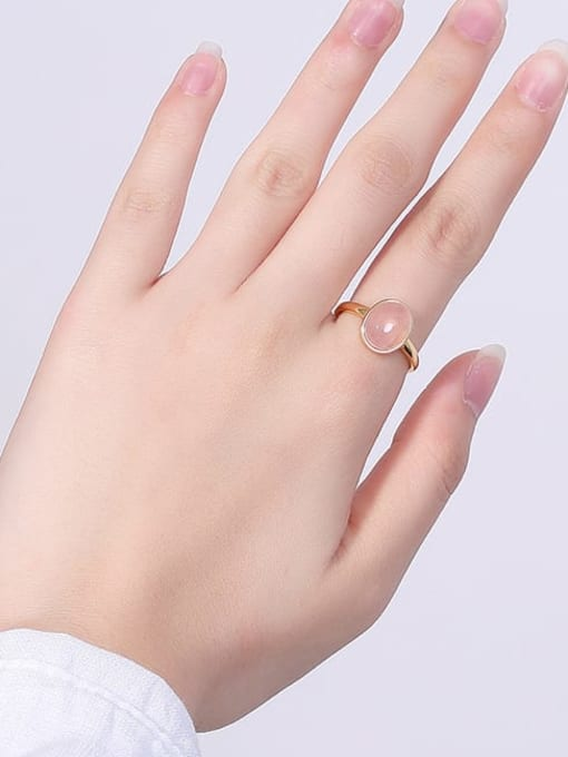DEER 925 Sterling Silver  Oval Pink crystal Minimalist Band Ring 1