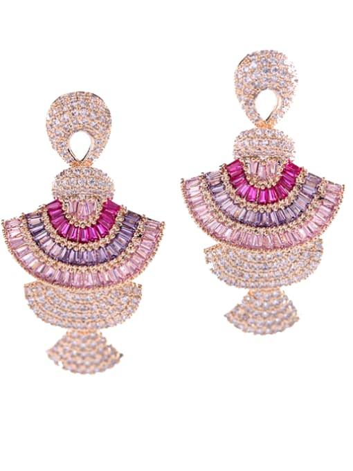 Luxu Brass Cubic Zirconia Geometric Luxury Cluster Earring 3