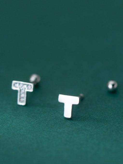 Rosh 925 Sterling Silver Cubic Zirconia Asymmetry  Cross Cute Stud Earring 1