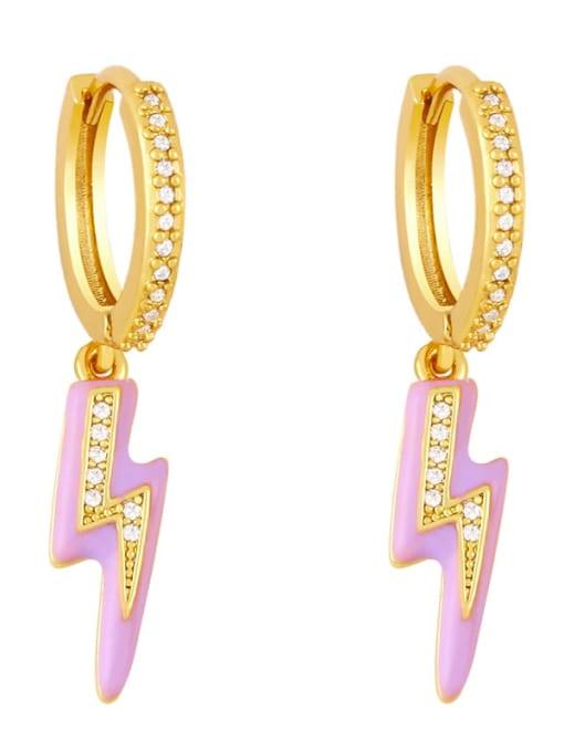 purple Brass Enamel Irregular Cute Huggie Earring