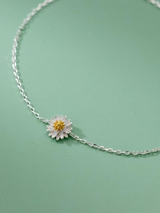 Rosh 925 Sterling Silver Flower Minimalist Anklet 2