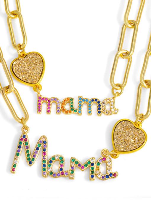 CC Brass Cubic Zirconia Letter MAMA Minimalist Pendant Necklace